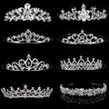 4 Estilos Elegante Nupcial Do Casamento da Tiara de Strass Coroa Da Representação Histórica de Cristal Headband do Cabelo do baile de Finalistas