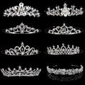 4 Estilos Elegante Tiara Nupcial de la Boda Rhinestone Crystal Crown Pageant Prom Pelo de La Venda