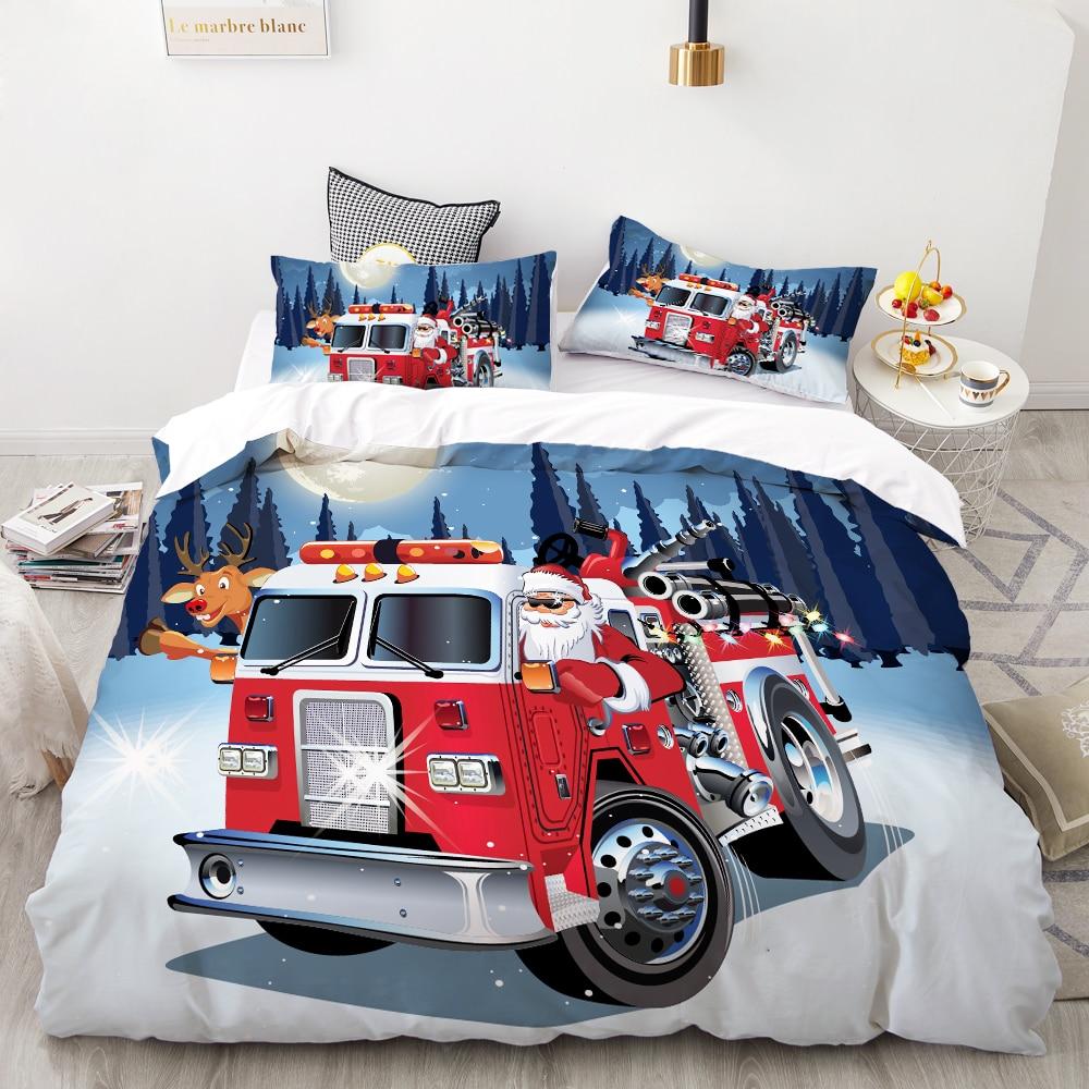 3D HD Digital Printing Custom Bedding Set,Cartoon Duvet Cover Set Kids Baby Child,Christmas Decorations  Santa Claus Fire Truck