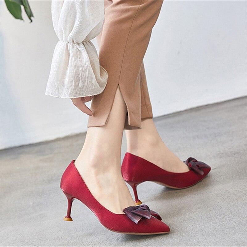 Pumps Women Shoes 6cm High Kitten Heels Red Satin Bow Tie Stiletto Pumps Fashion Ladies Shoes Office Casual Sexy Women Footwear stylish tartan pattern red matching design 6cm width tie for men