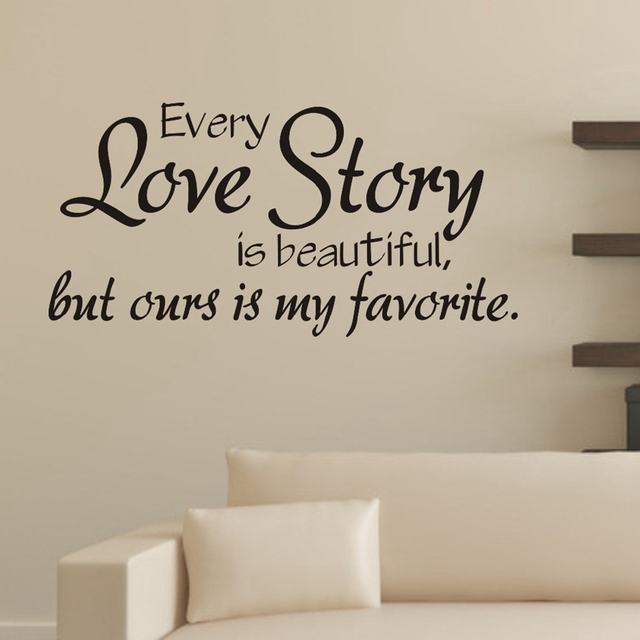 Bedroom wall stickers every love story is beautiful vinyl wall quotes decals bedroom love decor