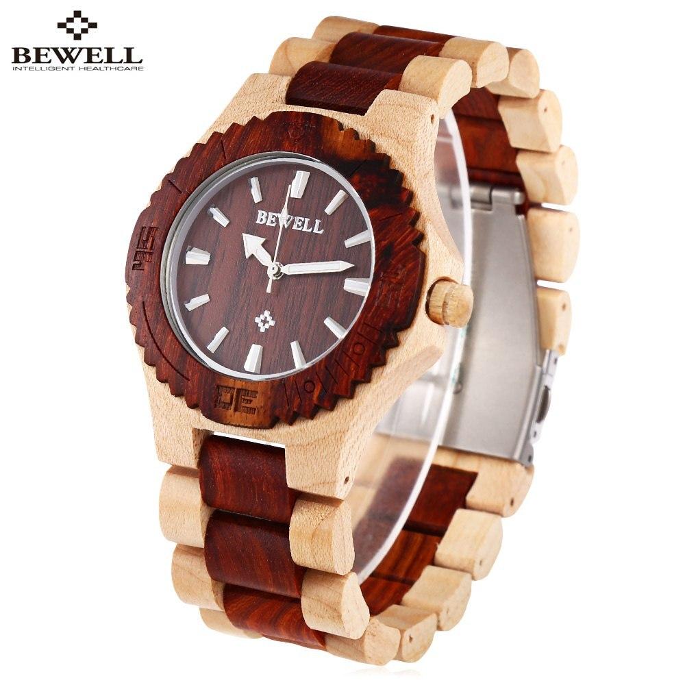 BEWELL Luxury Brand Dress Watches Men Waterproof Luminous Pointer Wood Watch Male Elegant Quart Wrist watch relogio masculino
