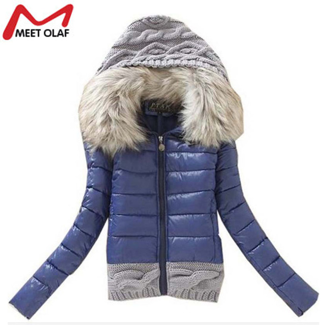 2016 Women Winter Coat Cotton Padded Jacket Short Knitted Hooded Fake Fur Female Warm Wadded Jackets And Coats YL005