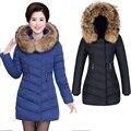 Ucrania chaqueta de Invierno mujeres Natural de piel de Mapache Cuello de piel Warm Pato Blanco Abajo Gruesas Parkas Impermeable Abrigo manteau femme Plus tamaño