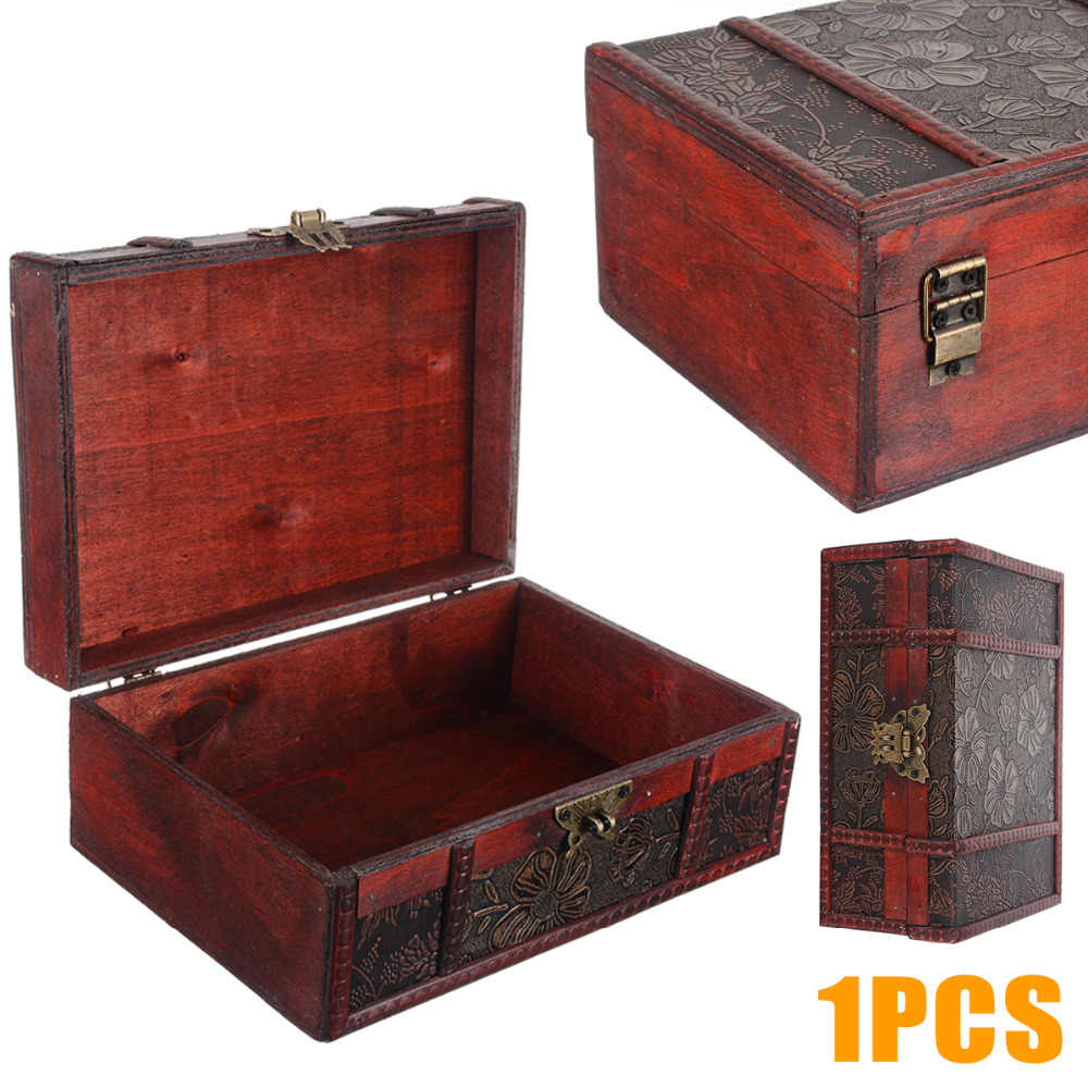 Vintage Large Wooden Decorative Jewelry Lock Chest Handmade Trinket Storage Box ForHome Decoration Holder Container