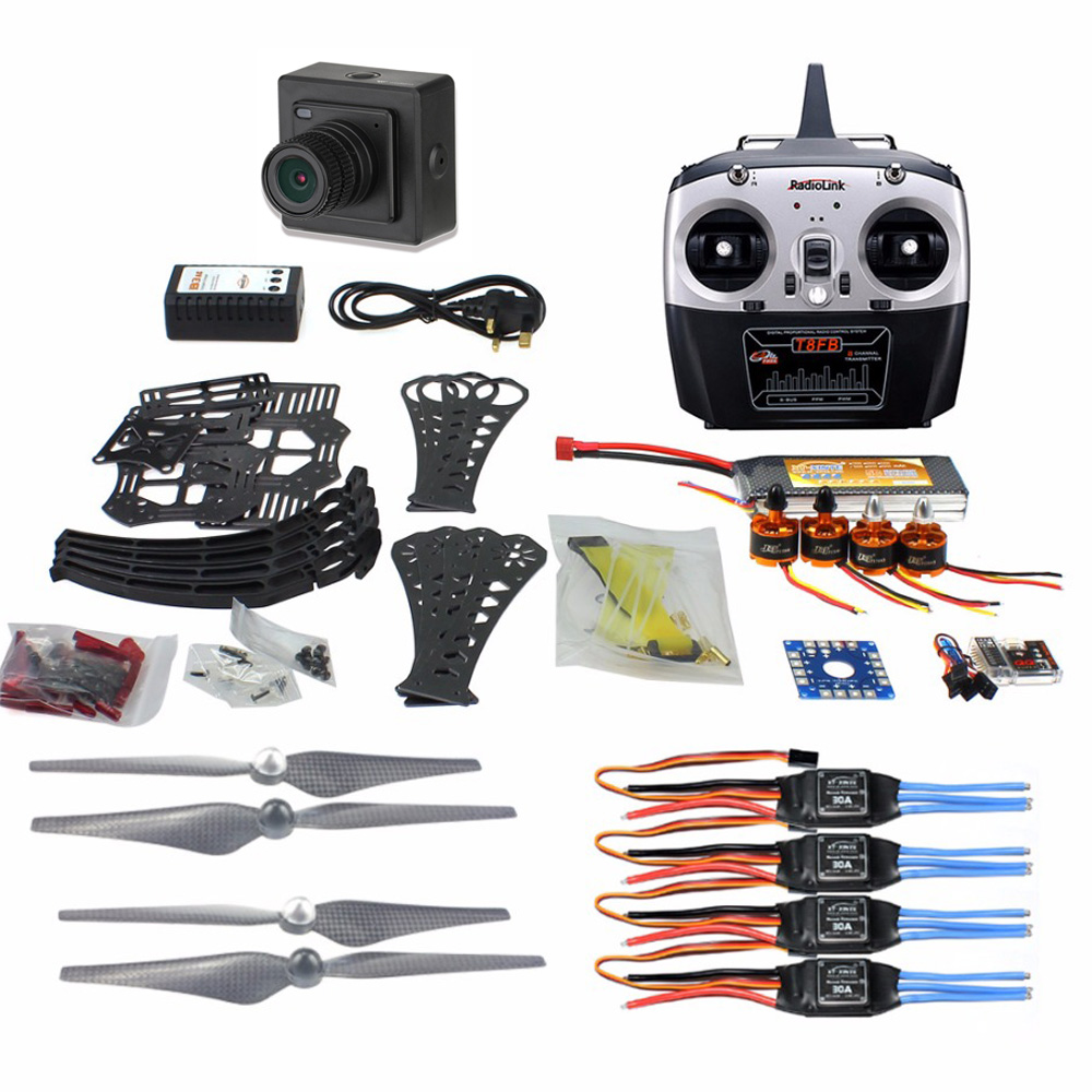 DIY RC Drone Quadrocopter ARF X4M360L Frame Kit QQ Super Flight Controller T8FB 8CH TX RX F14892-G+Camera diy rc drone quadrocopter arf with gimbal frame kit qq super fs i6 tx f14892 j