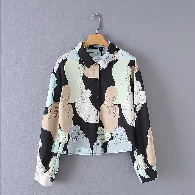 New Women Vintage Character Print Casual Shirt Blouses Women Long Sleeve Color Matching Blusas Chic Business Chemise Tops LS3270