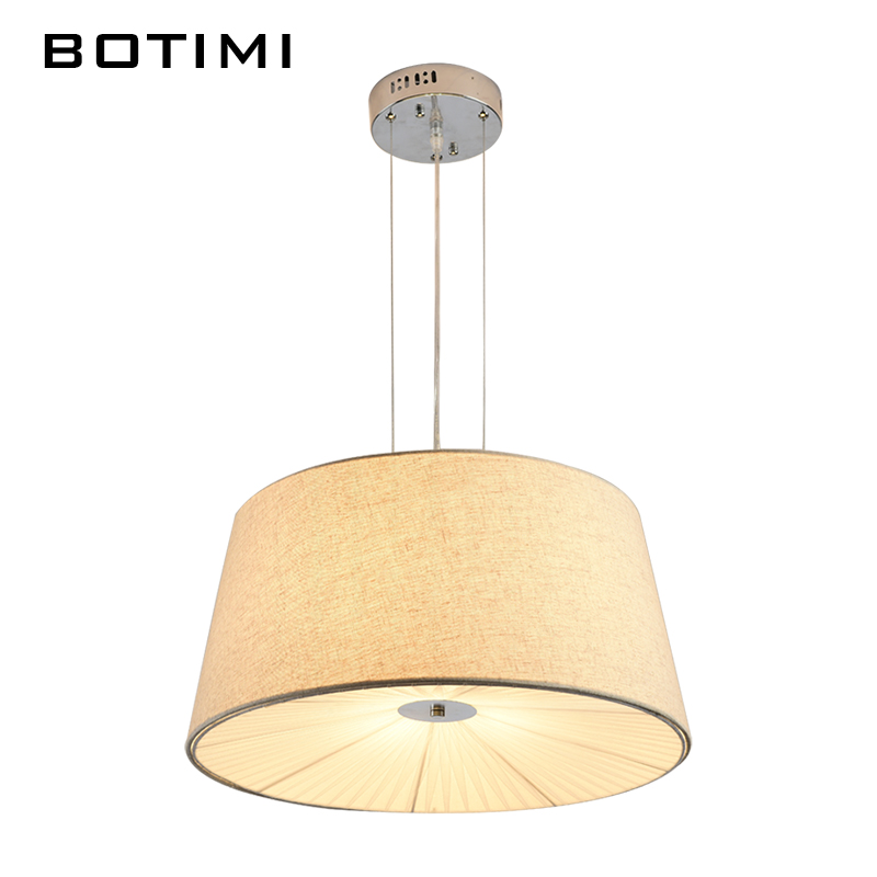 BOTIMI Modern Round Pendant Lamp For Dining Dedroom Lamparas colgantes Cloth Shade Hanging Lights E27 AC110-220V Home Lightings