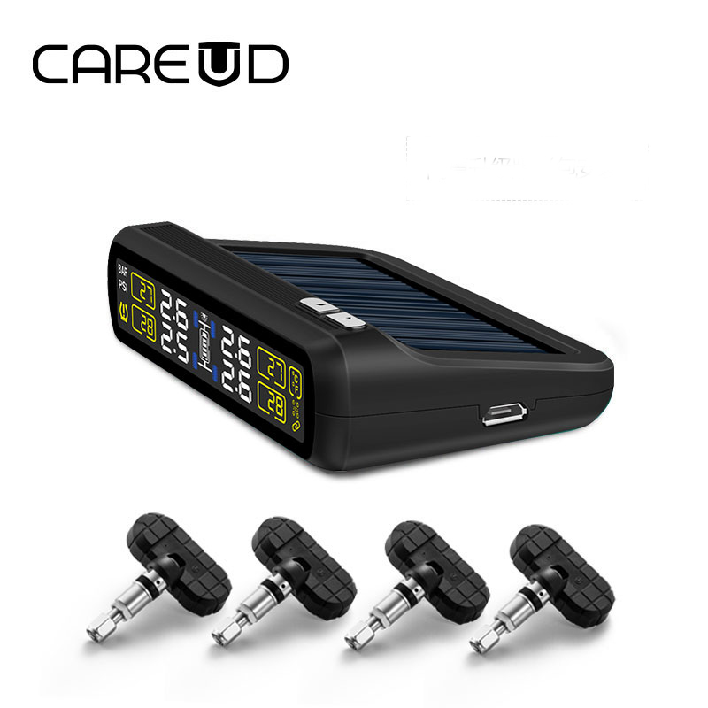 Original CAREUD solar power and USB charge car TPMS wireless tire pressure monitoring system with 4 internal sensors LCD display цена
