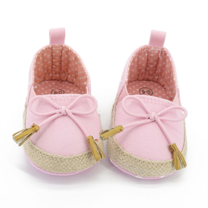 Infant Baby Girl Toddler Princess Soft Bottom Canvas Shoes Pink Crib Shoes 0-18M