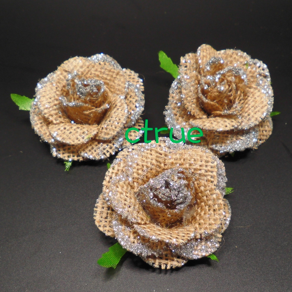 24pc jute burlap hessian flower with bling bling rustic wedding 24pc jute burlap hessian flower with bling bling rustic wedding centerpieces souvenirs baby shower diy craft supplies in party diy decorations from home junglespirit Images