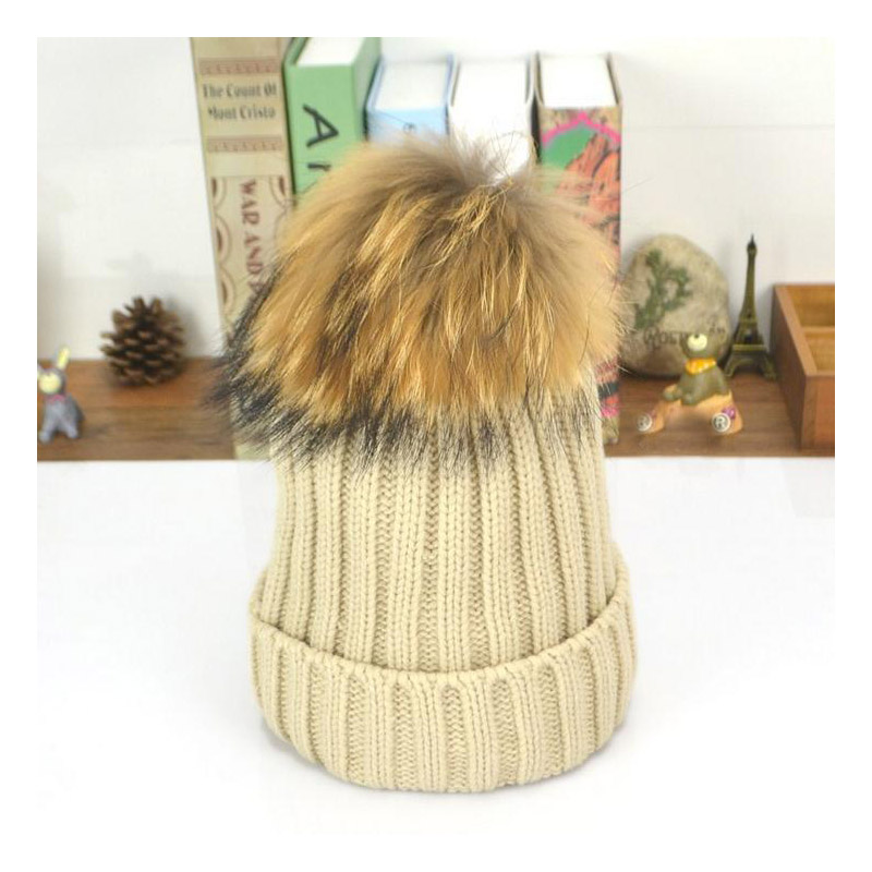 2016 New15 cm ball Rabbit hair large ball elastic knitted winter pompom hat warm hats for women Teens fur caps 4pcs new for ball uff bes m18mg noc80b s04g