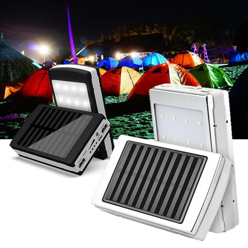 Binmer Solaire LED Portable Double USB Puissance Banque 5x18650 Externe Batterie Chargeur DIY Boîte Cas DE28 Drop Shipping