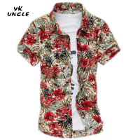YK UNCLE Brand Free Shipping Summer Beach Vacation Fashion Mens Clothes Bronzing Shirt Large Size 7XL