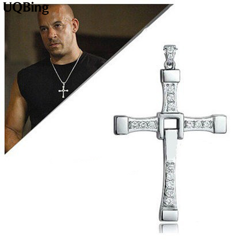 The Fast And The Furious Dominic Toretto Vin Diese Movie Jewelry Austrian Crystal Silver Sterling 925 Cross Necklace&Pendant Men цена