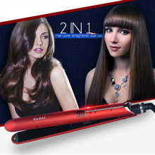 Best price KM-2205 Portable 2 in 1 LED Straightening Curling Iron Ceramic Hair Straightener Electric Flat Iron Fast Hair Curler Stylish P00
