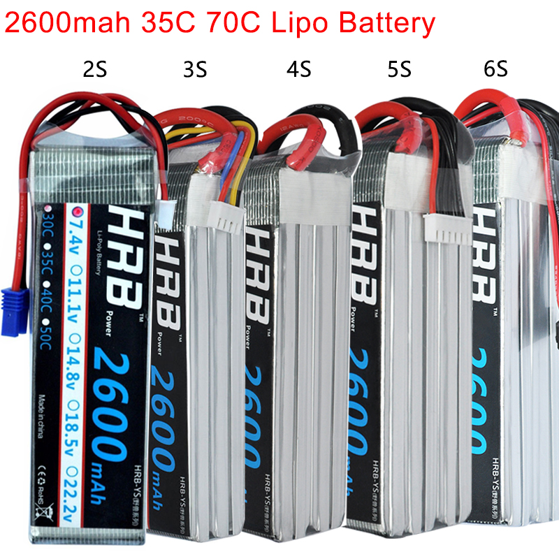 HRB RC Lipo Battery 2S 3S 4S 5S 6S 2600mah 35C Brust 70C XT60-T EC2 connector For Quadcopter Helicopter trex-450 fpv drones image