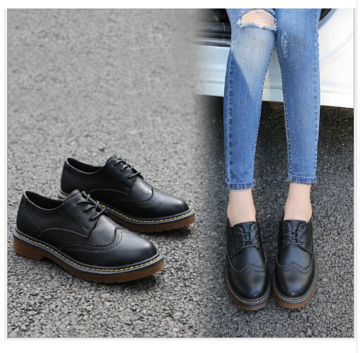2017 Весна ПУ Кожа Большой Размер Девушку 34-43 Дизайнер Старинные Плоские Туфли Круглый Носок Белый Криперс Оксфорд Обувь для Женщин