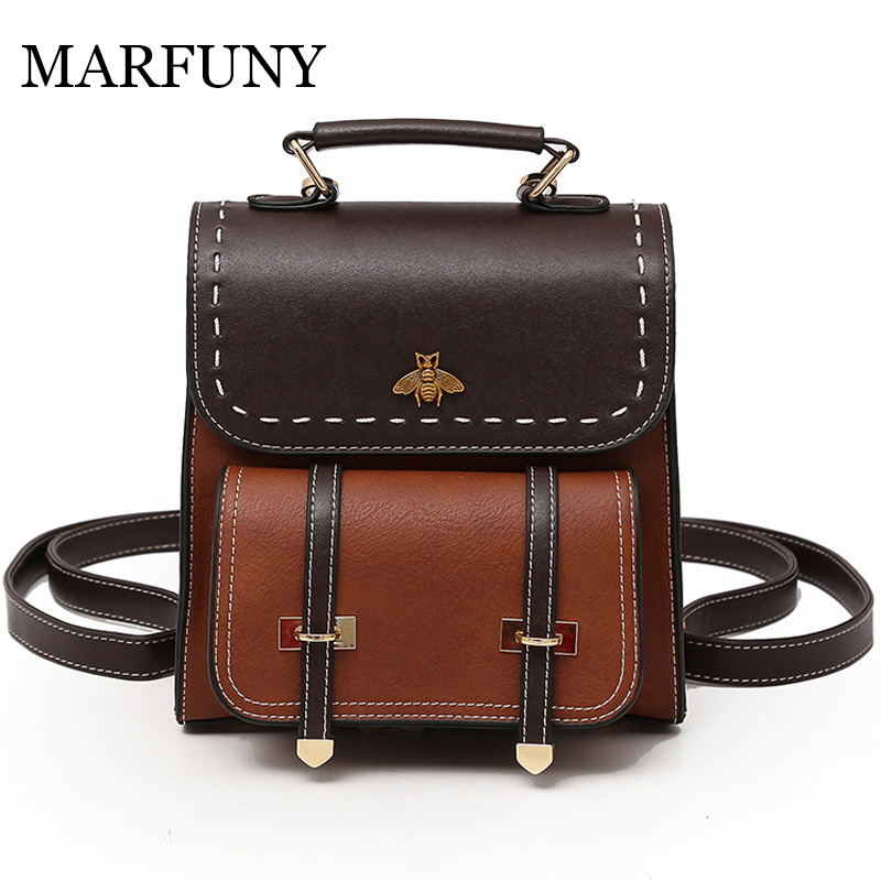 MARFUNY Little Bee Vintage Pu Leather Women Backpack Simple Preppy Style Backpack Women Famous College Backpack Women mochilas