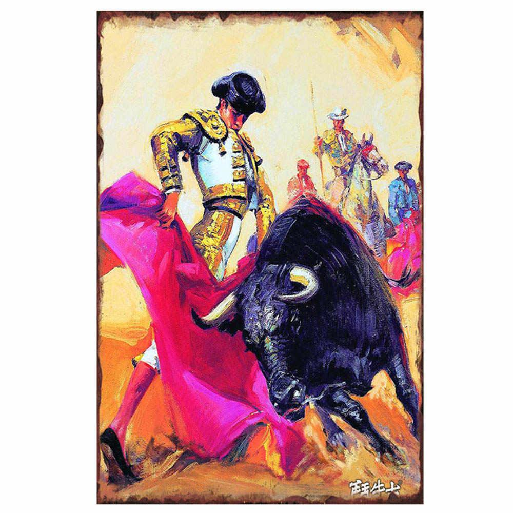 ספרדית לוחם שוורים פוסטר רטרו מתכת פח שלטי צלחת תשוקה ילדה Tinplate פלאק פאב בית קיר קישוט 30x20cm