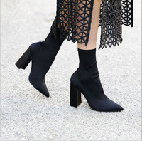 Stretch Fabric Fashion Boots Boots Shoes Woman New Spring Autumn Pointed Toe Thick Heel Women S