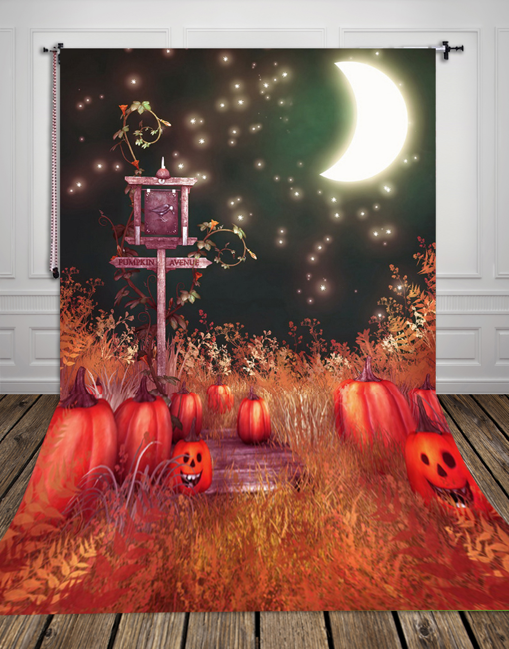 HUAYI Pumpkins Moon Night Photography Halloween Backdrop XT286 some pumpkins