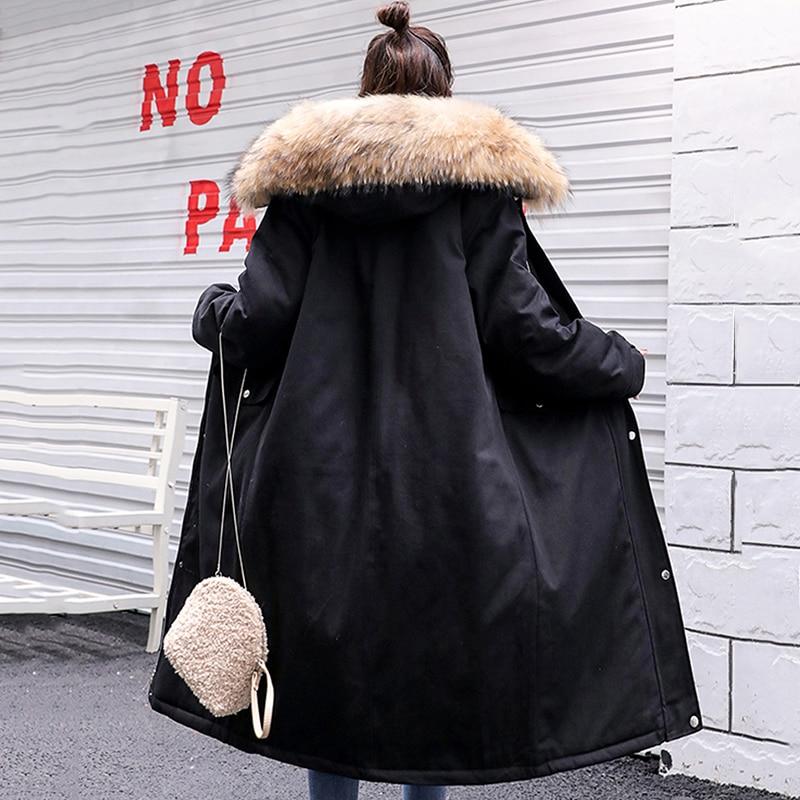 Korean Style 2019 Winter Jacket Women Fur Collar Hooded Oversize X-long Female Coat Outwear   Parka