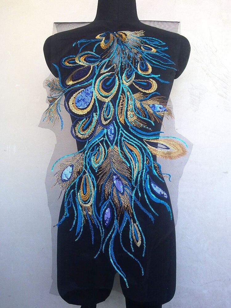 2 PcsLot High Grade Evening Dress Sequins Peacock Phoenix Feather Lace Patch Applique