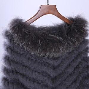 Image 5 - Jersey de lujo para mujer, Poncho de piel de mapache y conejo auténtico tejido de pieles, chal, abrigo triangular, 2020