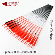 12pcs Linkboy Archery Carbon Arrow Spine 340 ID6.2mm 5inch Turkey feather 75gr tips Compound Bow Hunting archery accessories(China)