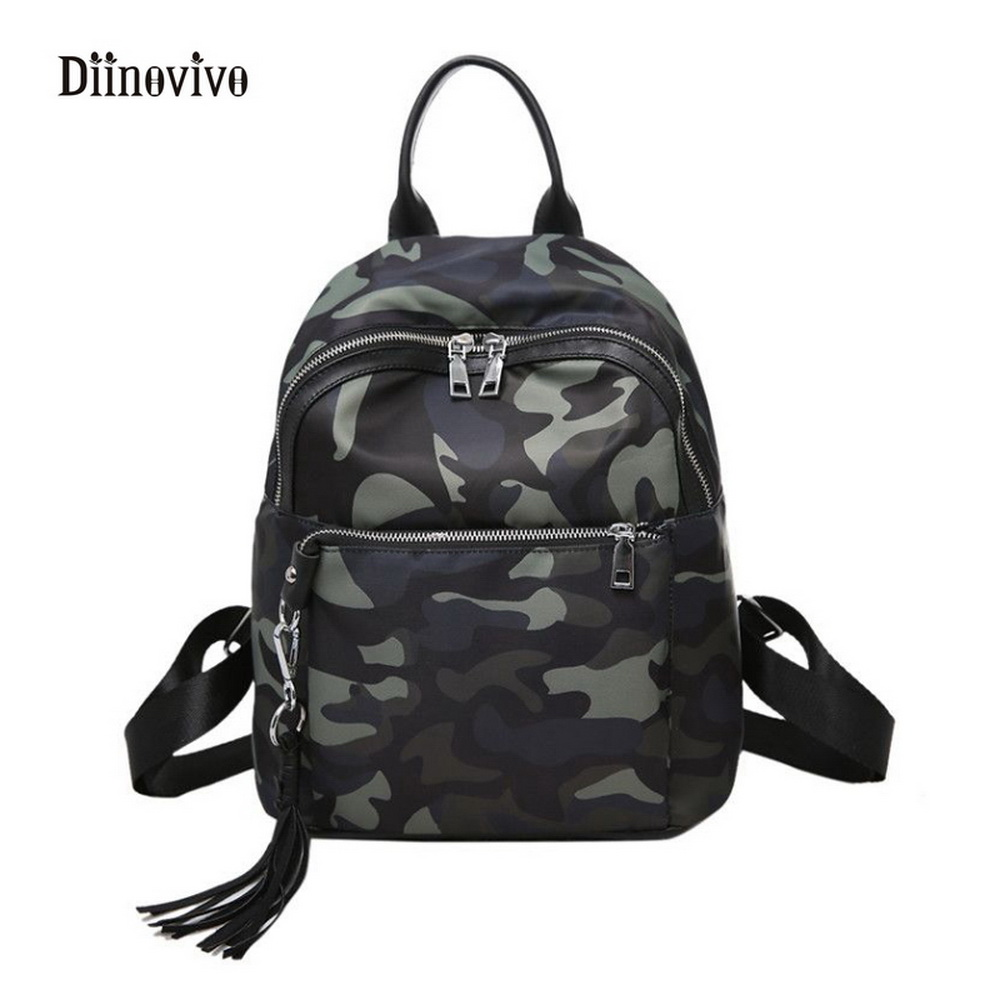 Diinovivo Camouflage Women Backpack Punk Style Tassel Small School Bags Designer Casual Travel Bags Bolsas Feminina Whdv0224