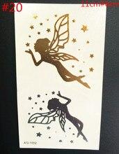 Body Art Angel Tattoos Party Gold Flash Flash Waterproof Temporary Tattoos Tatuagem Temporaria Women's Bodies