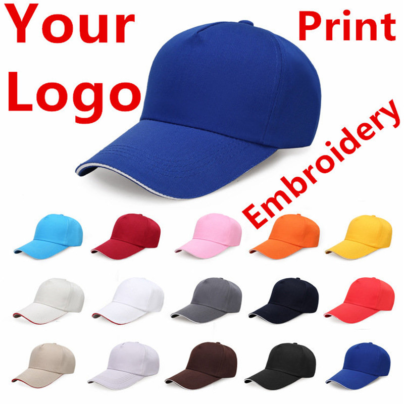 1 Pcs Custom Cotton   Baseball     Cap   Print Logo Text Photo Embroidery Gorra Casual Solid Hats Snapback   Caps   For Men Women