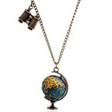Hot Sale Vintage Jewelry Globe Telescope Alloy long Pendant & Necklace for Women Retro Sweater Accessories CC2395