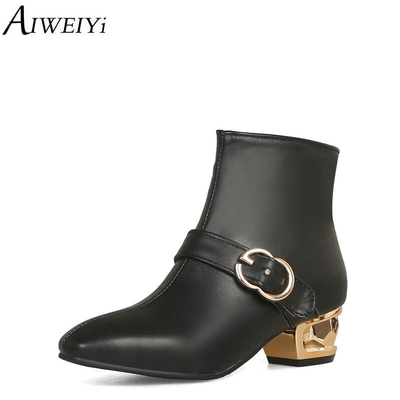 AIWEIYi grande taille 34-48 noir hiver bottes dames chaussures en métal Med talons boucle Design bureau dame bottines fille chaussures femmes
