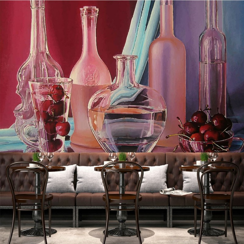 wallpaper 3d Modern Bar KTV Glass Wine Bottle Wallpaper 3d stereo restaurant corridor high quality mural free shipping european wine cellar wallpaper ktv bar restaurant industry lounge hall decoration beer cup wallpaper mural