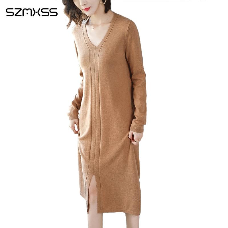 2018 Autumn New Korean Women Knit Dress Solid Color V neck Long Sleeve Turtleneck dresses High