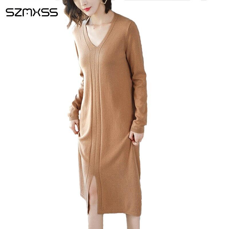 À Couleur Col Casual V robes Nouvelle Haute robe Qualité Tricot Femmes Roulé Col Robe Longue Longues 2018 Automne Manches Solide Coréen 0nqWBv8
