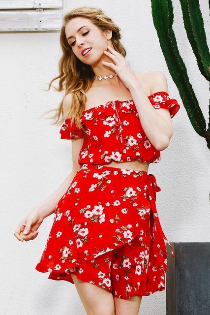 e6f2bcbe4bd1 Two-piece red chiffon summer dress women 2017 Vintage party ruffles short dress  Off shoulder beach dress vestido
