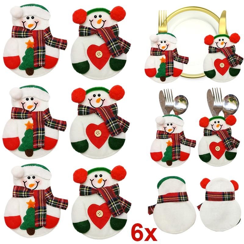 6pcs Christmas Decoration Home Silverware Holder Snowman Pockets Dinnerware Cover Table Decor Xmas Decor Fp