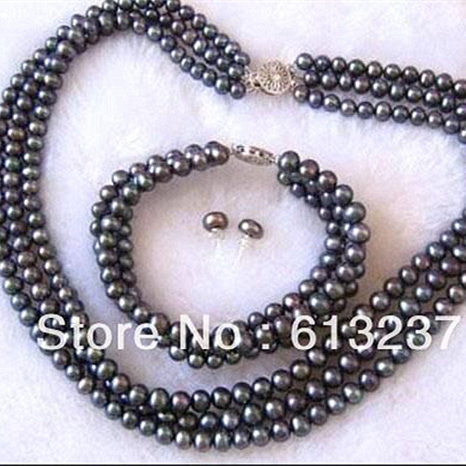 Charms 3 rows 7 8mm beautiful black pearl round beads diy Necklace Bracelet Earring making MY4794