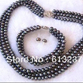 Charms 3 rows 7-8mm beautiful black pearl round beads diy Necklace Bracelet Earring making MY4794