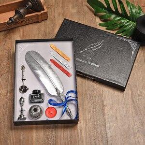 Image 2 - Cor de ouro pena caneta fonte do vintage caixa de presente conjunto estudante escrita material de escritório dip água caligrafia caneta fonte 5