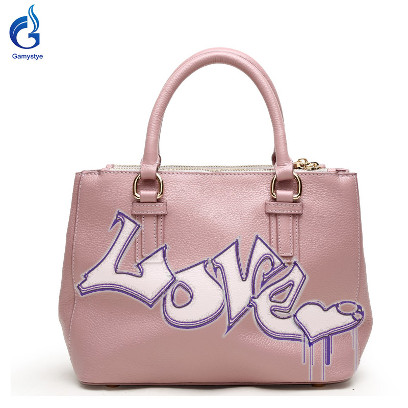 Gamystye Genuine leather Handbags New Design Word LOVE Graffiti hand Paint Letters On Women Bags Women handbag Customize letters on familiar matters vol ix–xvi