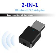 Hot 2 in1 Portable Bluetooth 5.0 Transmitter Receiver Mini 3.5mm AUX USB Wireless Stereo Audio Adapter for Home TV MP3/4 PC Car 2 in 1 wireless bluetooth 4 2 audio transmitter receiver 3 5mm aux adapter for tv home stereo system pc earphone speaker