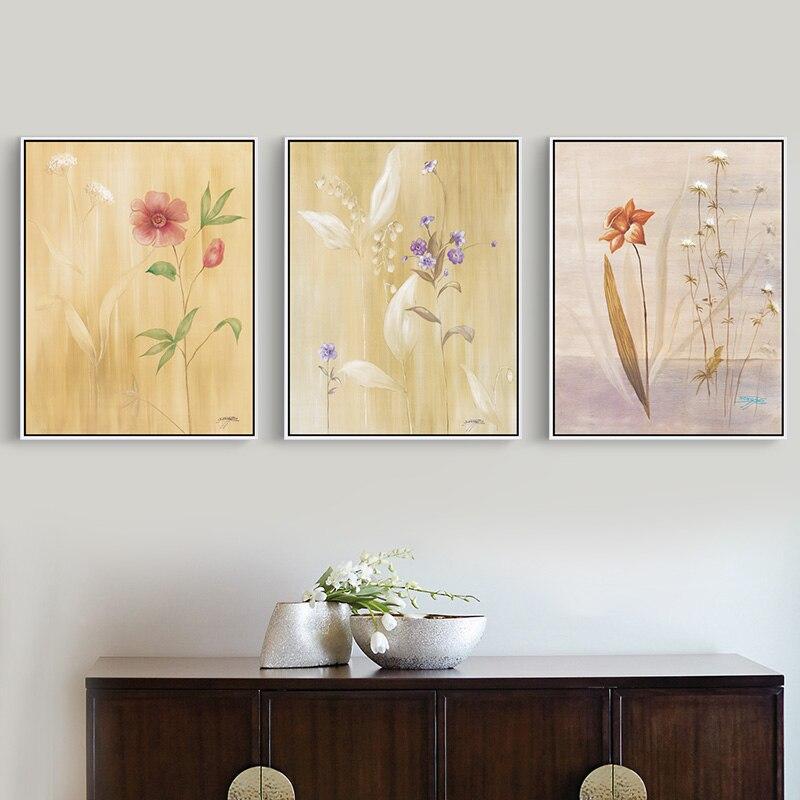 Modern Asian Flower Painting City Flower Hut Bedroom Wall Art Plant ...