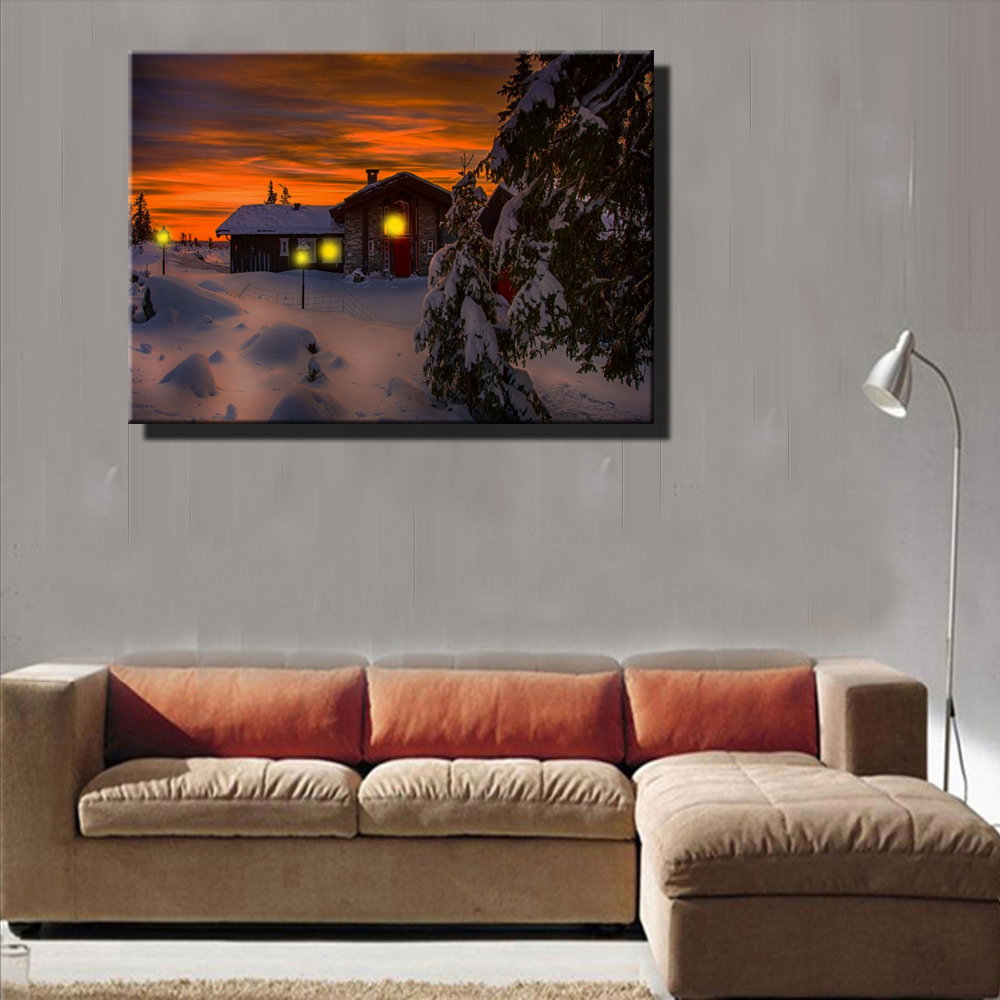 Canvas wall art with led lighted up Village Cottages snowy ...