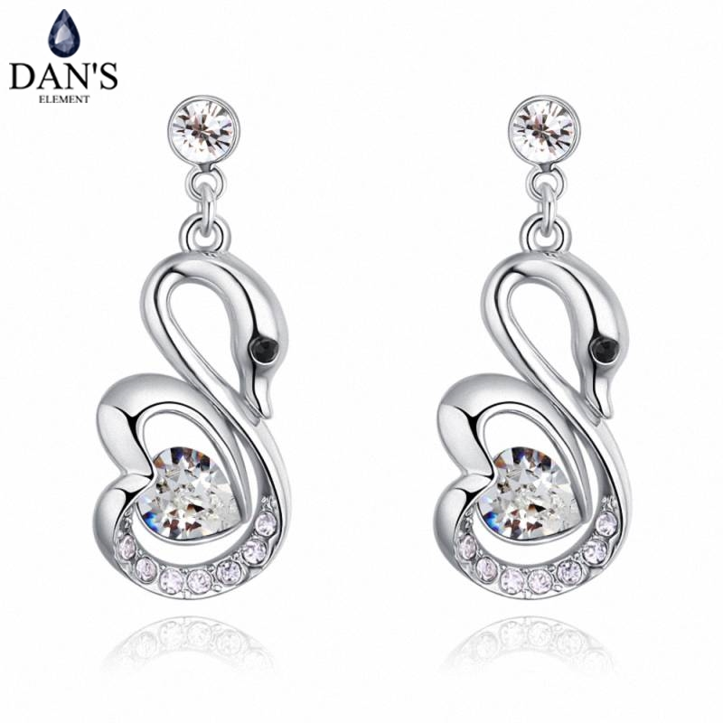 DANS 5 Colors Real Austrian crystals Stud earrings for women Earrings s New Sale Hot Round 129652