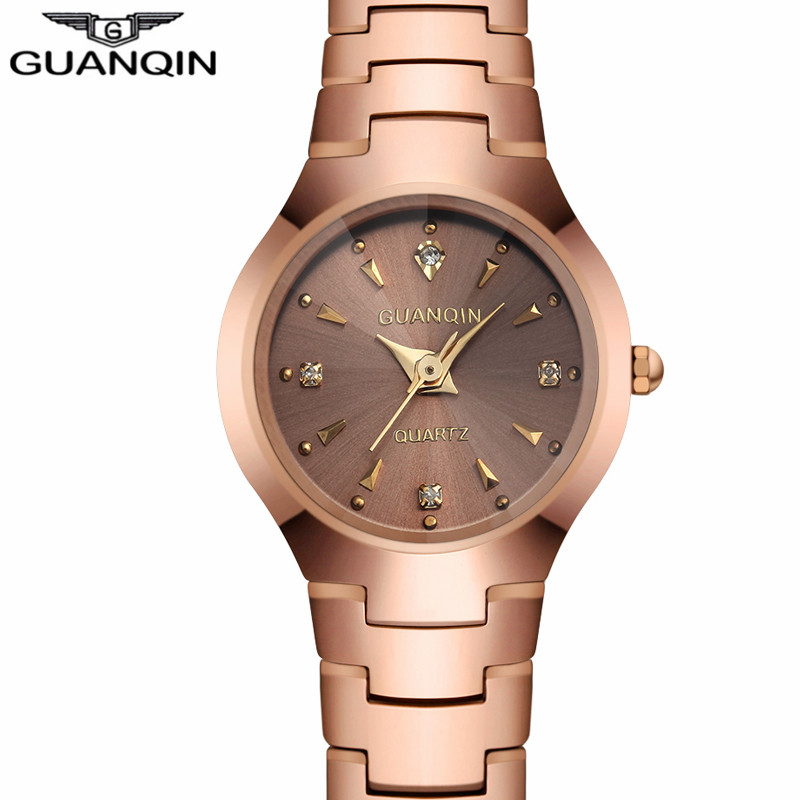 NEW GUANQIN Watches Women Business Luxury Tungsten Steel Quartz Watch Date Analog Display Ladies Bracelet Watch relogio feminino guanqin fashion women watch gold silver quartz watches waterproof tungsten steel watch women business bracelet gq30018 b