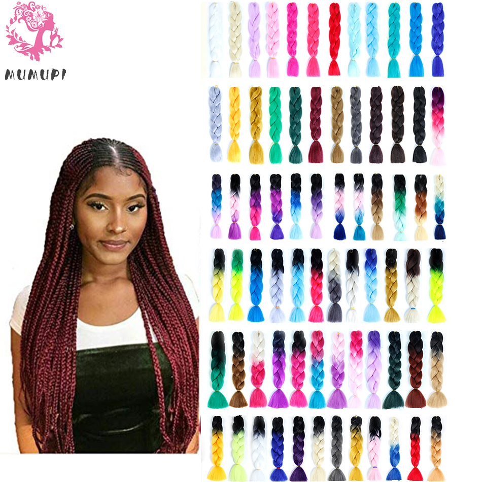 MUMUPI 24inch Jumbo Braid Hair Crotchet Braids Ombre Pure Color Expression Braiding Hair Black Blond Pink for women   headwear